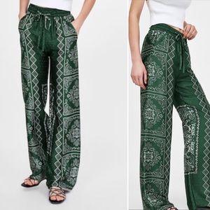Zara Woman Wide Leg Silky Bandana Pull On Pants L